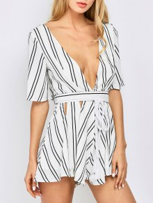 Striped Flutter Sleeve Plunge Playsuit - White