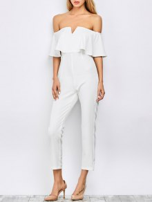 Ruffles Off Shoulder Jumpsuit - White
