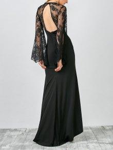 Plunge Lace Panel Evening Dress - Black
