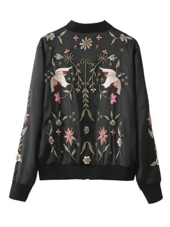 Beaded Embroidered Bomber Jacket - BLACK XL Mobile