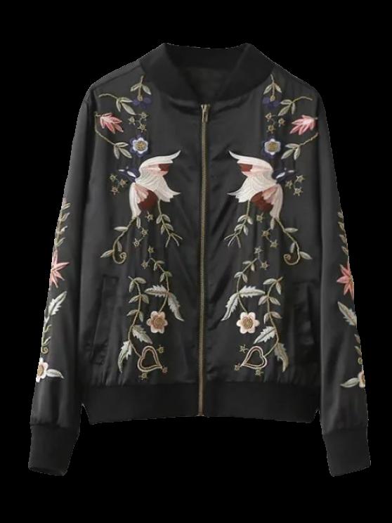 Beaded Embroidered Bomber Jacket - BLACK XL Mobile