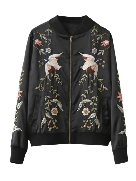 chic Beaded Embroidered Bomber Jacket - BLACK M