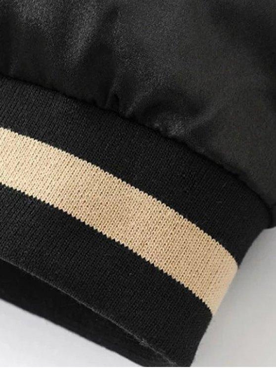 Reversible Embroidered Bomber Jacket - BLACK 2XL Mobile
