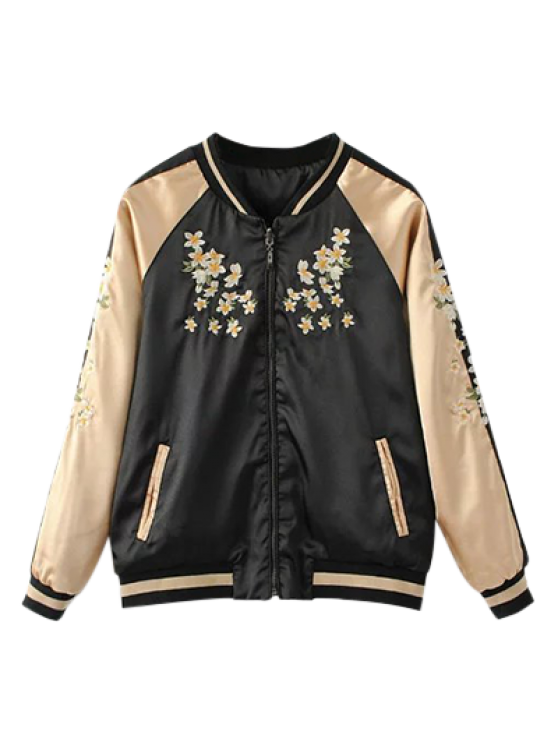 womens Reversible Embroidered Bomber Jacket - BLACK S