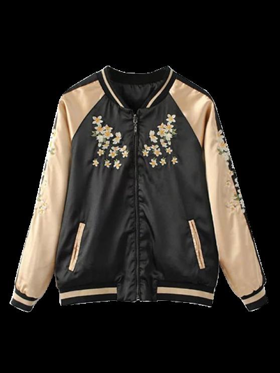 Reversible Embroidered Bomber Jacket - BLACK S Mobile