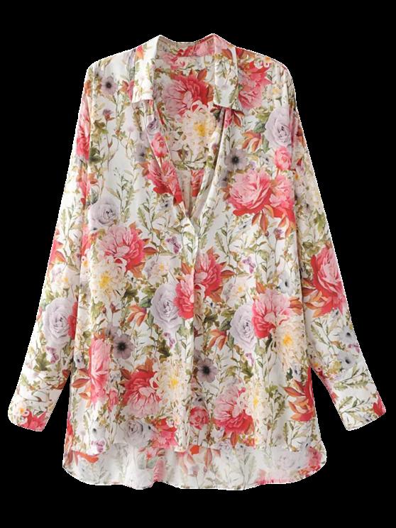 latest High Low Longline Floral Shirt - FLORAL L