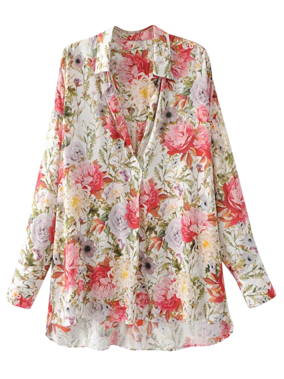 fashion High Low Longline Floral Shirt - FLORAL S