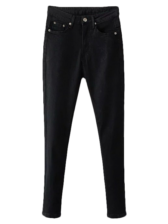 lady Stretchy Zip Fly Jeans - BLACK 2XL