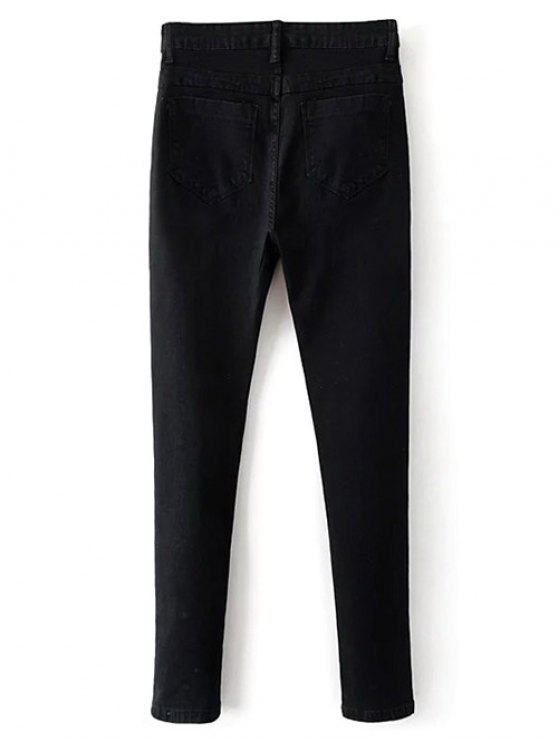 Stretchy Zip Fly Jeans - BLACK M Mobile