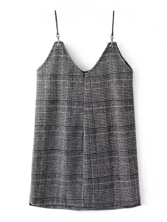 Checked Tweed Cami Dress - WHITE AND BLACK S Mobile