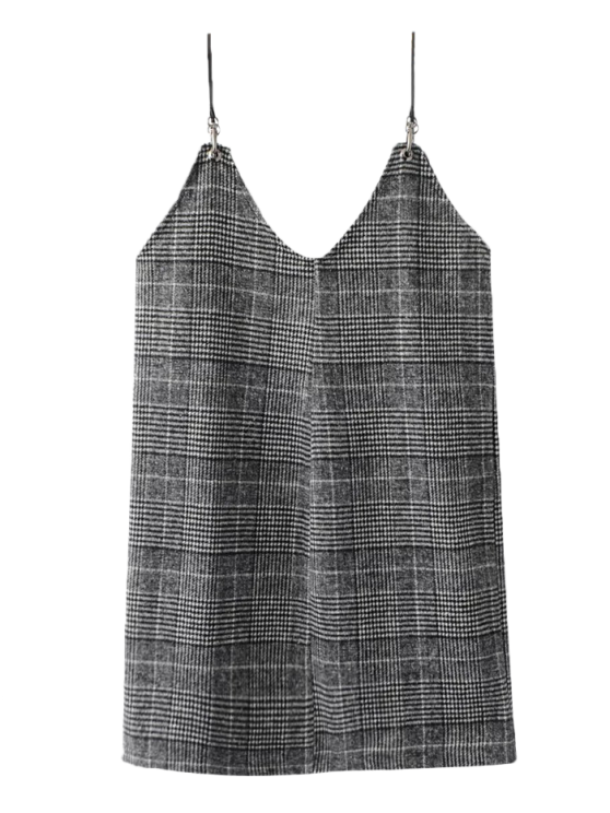 shop Checked Tweed Cami Dress - WHITE AND BLACK S