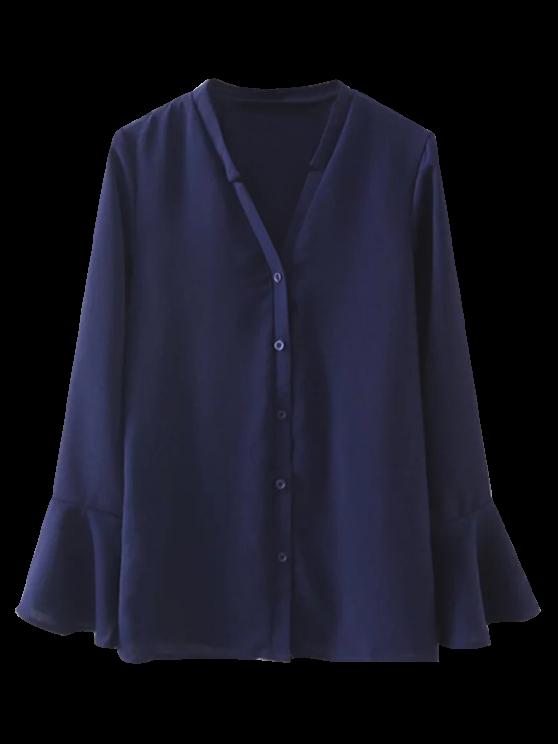 Camisa de cuello en V manga de la llamarada - Marina de Guerra S