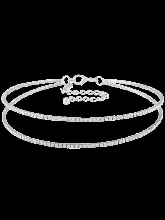 lady Twins Circle Rhinestone Choker Necklace - SILVER