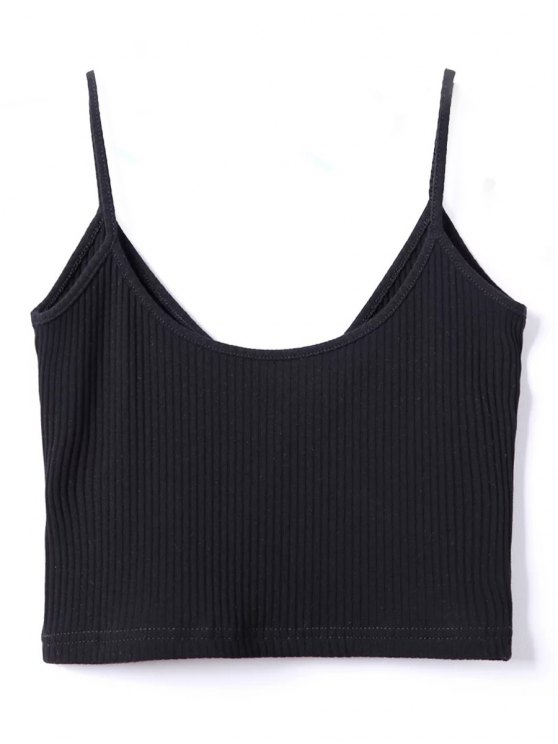 Ribbed Surplice Cropped Cami Tank Top - BLACK ONE SIZE Mobile