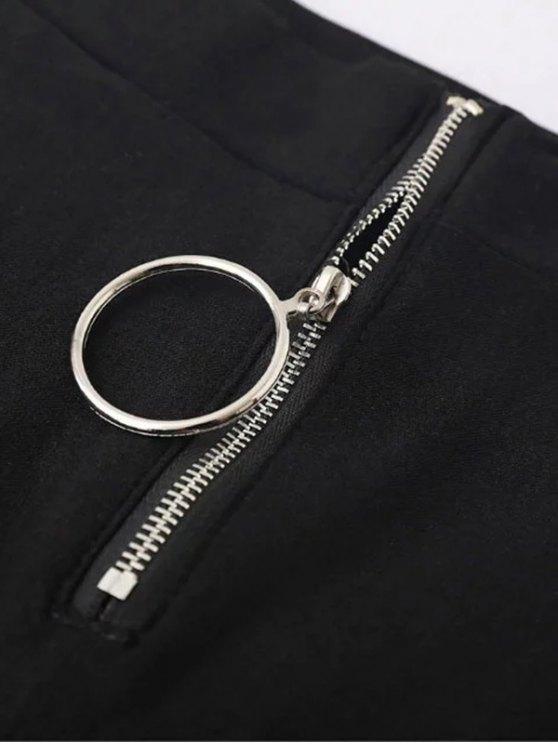 Skinny High Waist Pants - BLACK L Mobile