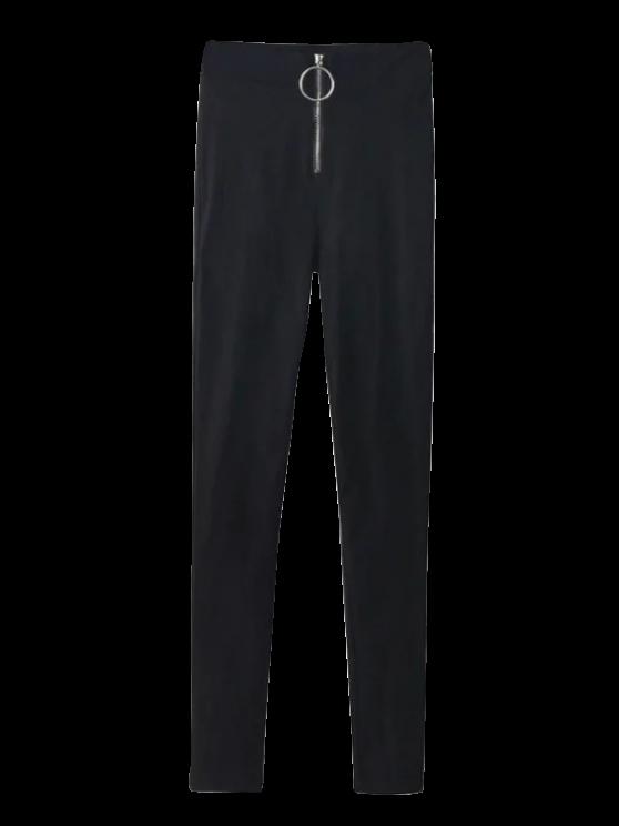 سروال الخصر العالي النحيل - أسود S