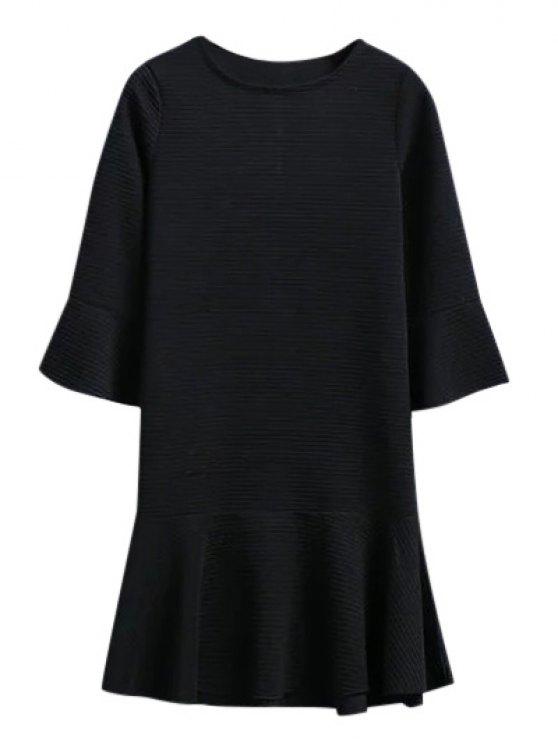 Ajuste del volante gota del vestido de cintura en Jacquard - Negro L