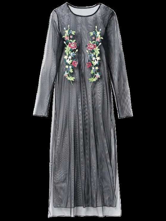 See Thru bordado Vestido de malla - Negro S