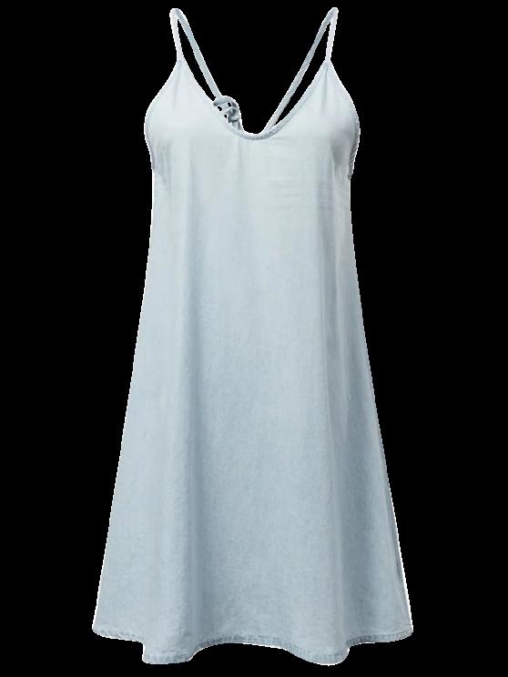 Slip vestido de dril de algodón - Azul claro S