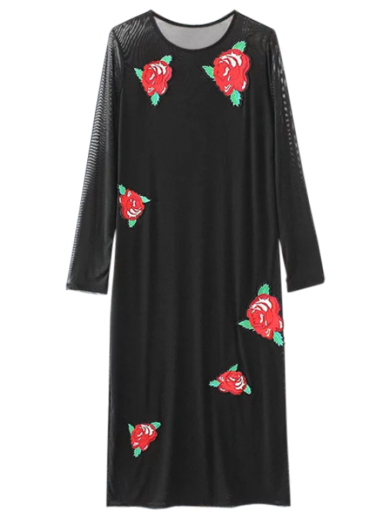 womens Long Sleeve Patched Midi Dress - BLACK S