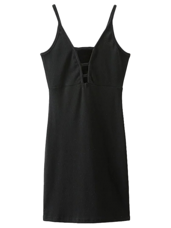 affordable Plunging Neck Bodycon Mini Dress - BLACK M