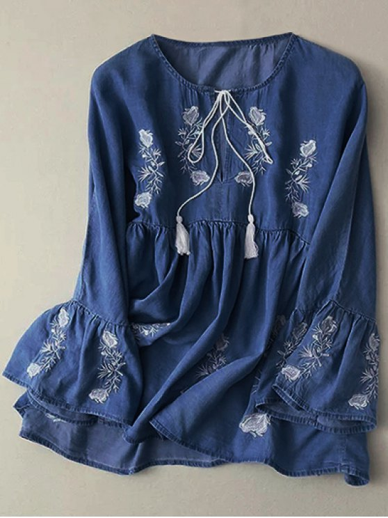 affordable Bell Sleeve Embroidered Babydoll Top - DEEP BLUE M