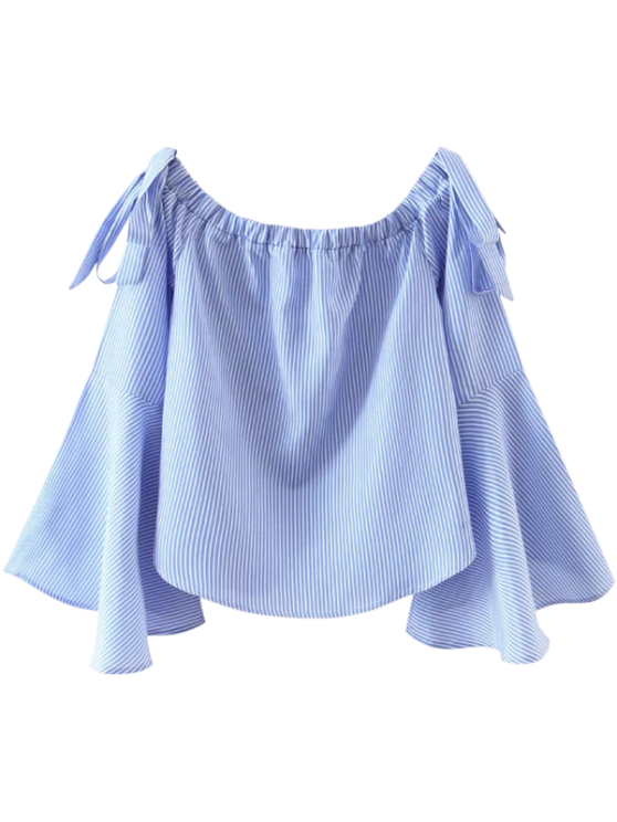 women's Bell Sleeve Off The Shoulder Top - BLUE AND WHITE M