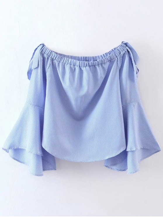 Bell Sleeve Off The Shoulder Top - BLUE AND WHITE S Mobile