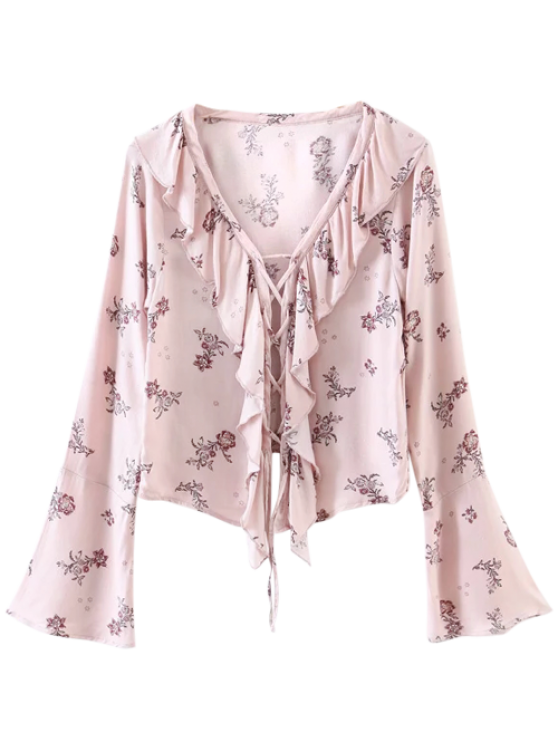 online Printed Lace Up Frilly Blouse - PINK S