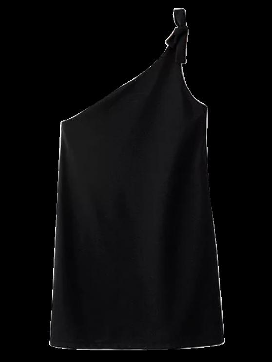 women's Tied One Shoulder Mini Dress - BLACK L