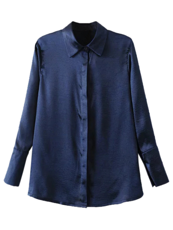 Camisa bordada de Satén - Azul Purpúreo M