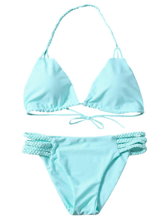 Side Strap Braided Plunge Bikini - TURQUOISE L Mobile