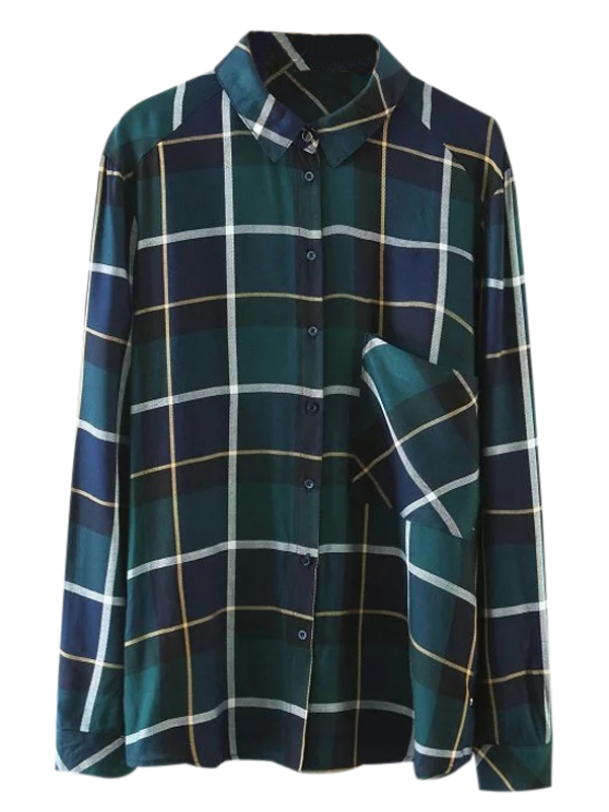 shop Pocket Checked Shirt - GREEN S