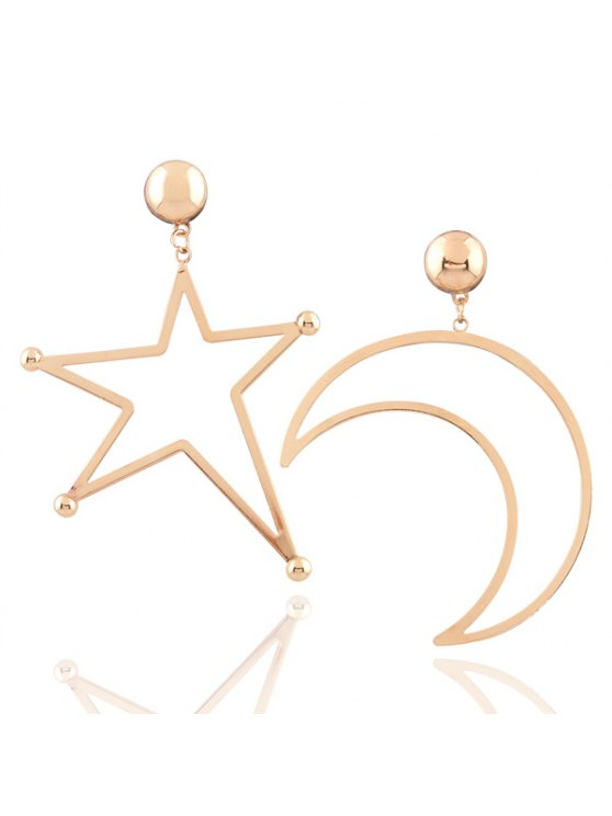 best Alloy Moon Star Earrings - GOLDEN