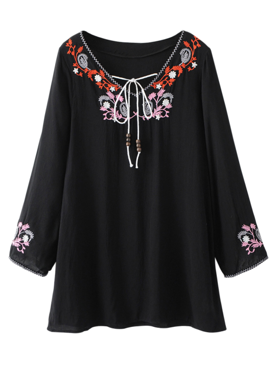 womens Long Sleeve Embroidered Mini Dress - BLACK XL