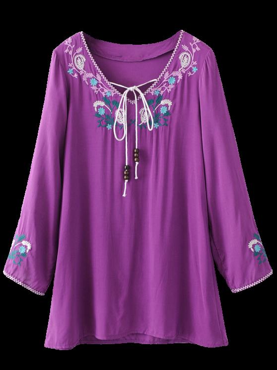 lady Long Sleeve Embroidered Mini Dress - PURPLE XL