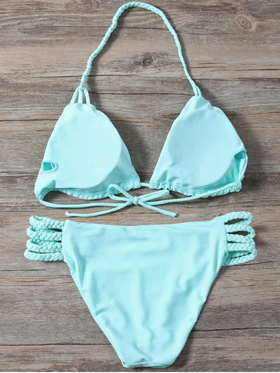 Side Strap Braided Plunge Bikini - TURQUOISE S Mobile