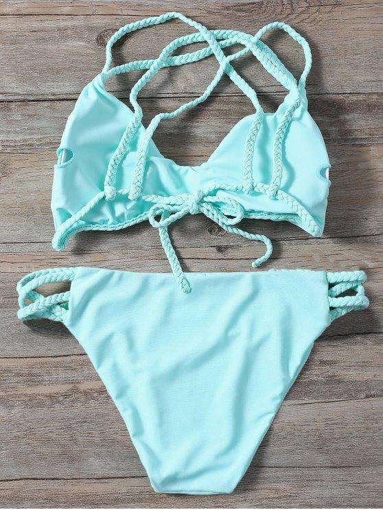 Braided Crisscross Strap Bathing Suit - LIGHT GREEN M Mobile