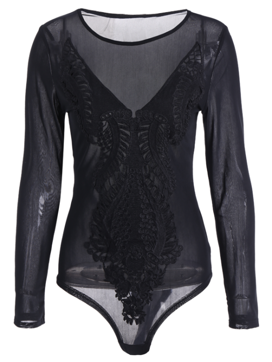 Embroidered See Through Bodysuit - BLACK S Mobile