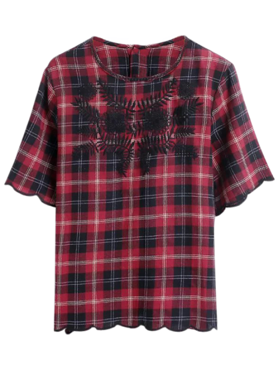 trendy Scalloped Hem Checked Embroidered Blouse - PLAID L