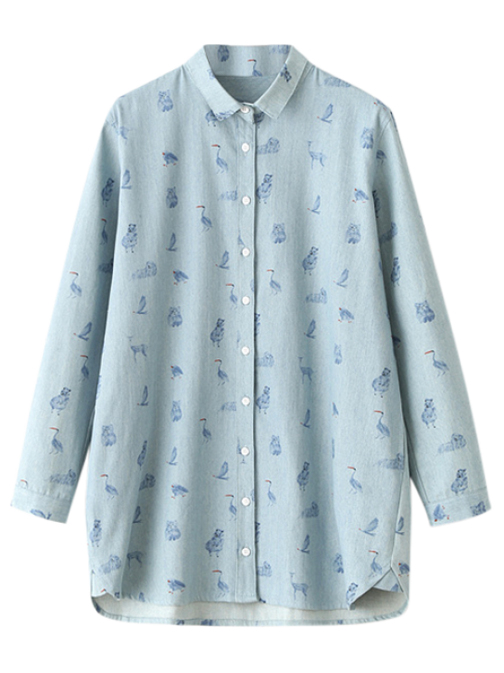 shop Cartoon Animal Print Denim Shirt - LIGHT BLUE ONE SIZE
