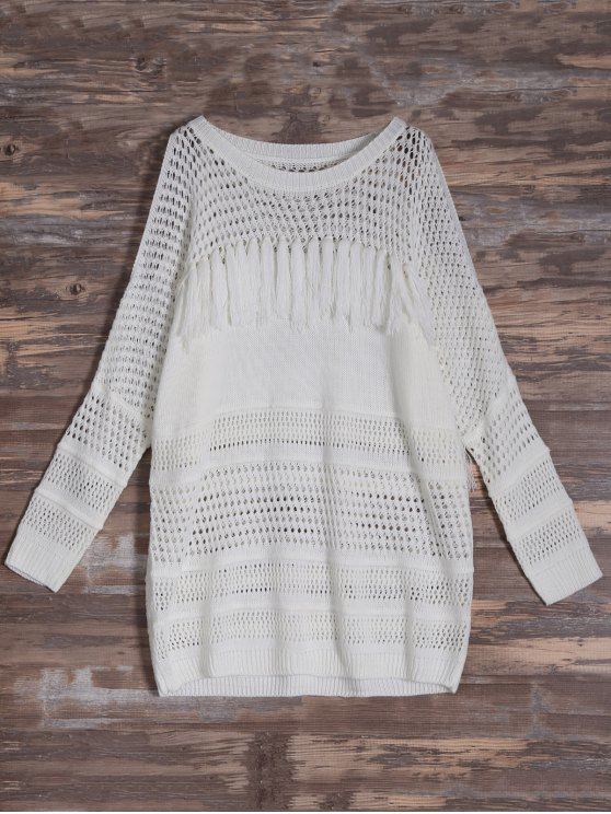 Cold Shoulder Hollow Out Tassel Jumper - OFF-WHITE ONE SIZE Mobile