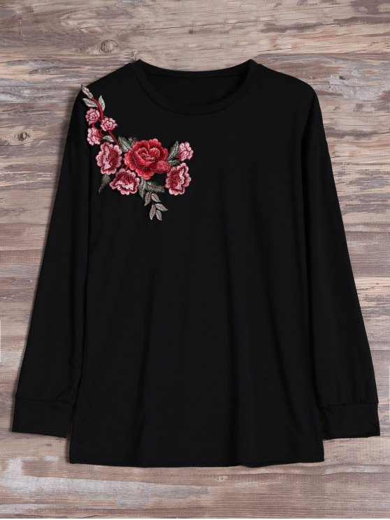 ladies Floral Embroidered Patch Long Sleeve Tee - BLACK XL