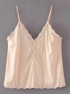 Lace Trim Cami Top - Nude S