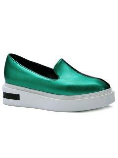 Colour Block Faux Leather Platform Shoes - Green 38