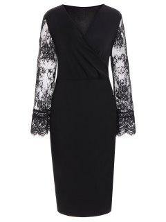 Lace Insert Long Sleeve Plus Size Surplice Dress - Black 6xl