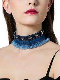 Tassel Star Denim Choker Necklace - Denim Blue