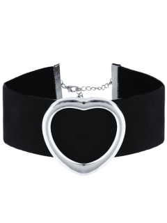 PU Leather Velvet Heart Choker Necklace - Silver