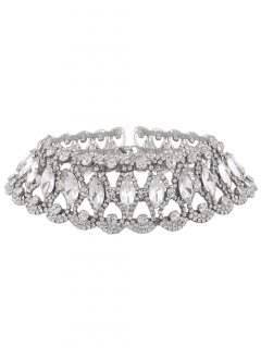 Faux Diamond Choker Necklace - Silver