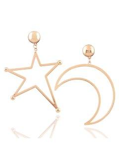 Alloy Moon Star Earrings - Golden